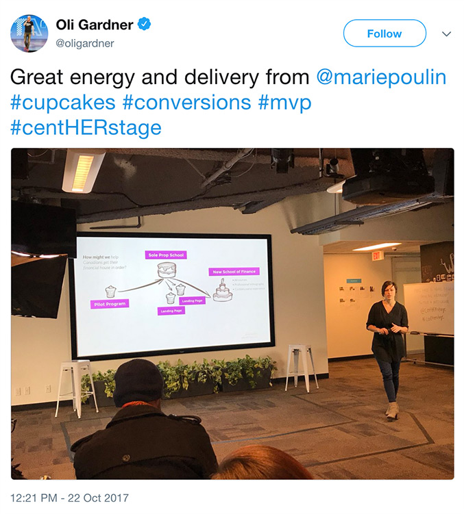 "@oligardner says ""Great energy and delivery from @mariepoulin"" on Twitter"